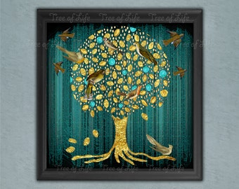Teal Tree of Life Rolled Modern Canvas Art Print Gold shade tree (WORLDWIDE SENT in TUBE) with Birds Large and small