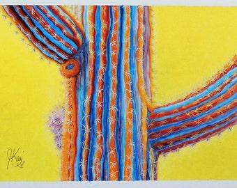 Cactus Practice II -- Abstract - Surreal Cactus Original Painting