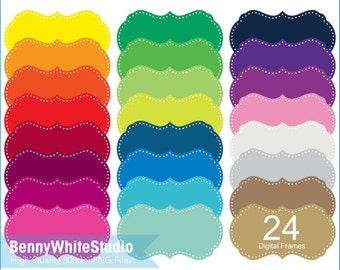 24 Colors Digital Frames Clip Art, For Personal and Small Commercial Use. B-0022.