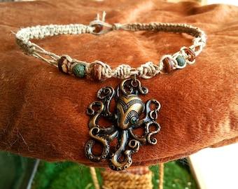 Hemp Necklace With Metal Octopus Pendant
