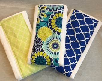 Blue and Lime burp cloths - Set of 3