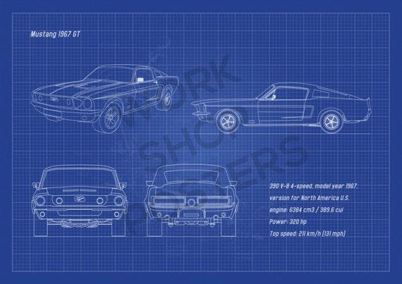 Mustang 1967 Gt Fastback Horizontal Blueprint Poster