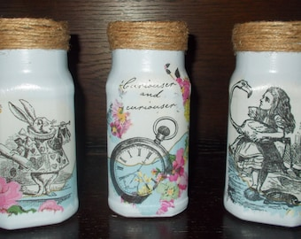 Alice In Wonderland Set of 3 Decorative Blue Glass Jars, Storage Jars, Shabby Chic, Vintage Jars, Alice, White Rabbit