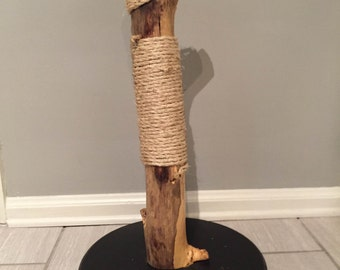 Natural Wood Cat Scratch Post (mess free)