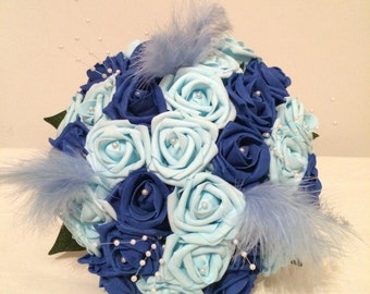 Blue and pearl bridal flowers