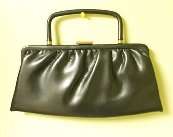 Vintage Black Clutch 60s by Paray