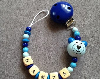 Pacifier clip-pacifier beads wood name: Hall