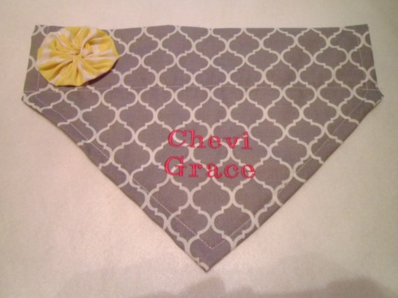 Dog Bandana, Monogram, Personalized, Flower, Dog Collar, Over the Collar, Gray Quatrefoil
