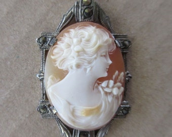 Cameo Vintage Hand Carved Shell Cameo 1910s