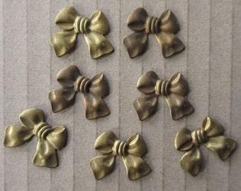 14 Circa 1980 Vintage Brass Bow Stampings
