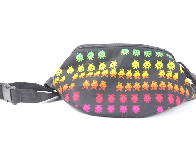 Fanny pack Rainbow Monsters fabric  - Hip Waist Bag for travel, sport, and recreation with 2-zippers