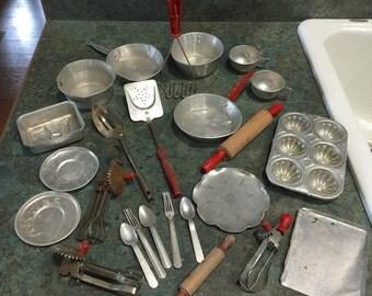 VIntage Children Toy Kitchenware and Utensils Qty of 25 1940- 1950 Era