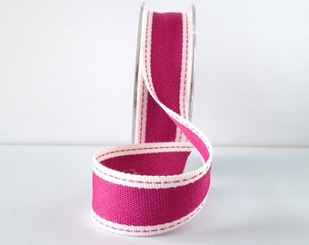 """Striped Ribbon 1"""" Wide - Fuchsia with Ivory Border - Woven Fabric Ribbon with Stitched Edge 10 Yard Spool"""
