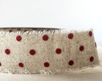 """5 Yard Spool Natural Linen Ribbon with Velvet Polka Dots in Dark Red 1.5"""" Wide Christmas Ribbon Holiday Gift Wrap Primitive"""