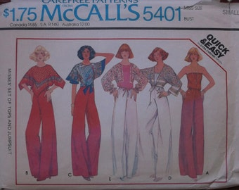 Vintage 70s Strapless Jumpsuit and Scarf Wrap Tunic Top Sewing Pattern / McCalls 5401 / Sz Small 32 34 Bust