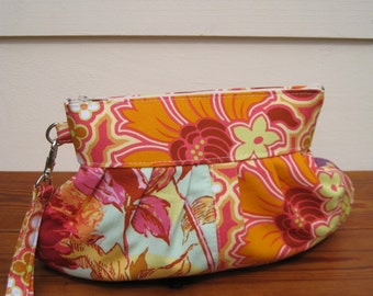 Bridesmaid clutch,janbag wristlet patchwork,pocket,cotton,pleated, cosmetic bag orange