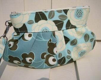 Bridesmaid clutch, janbag wristlet, flowers,cotton,aqua blue clutch,sale, patchwork,pocket,cosmetic bag
