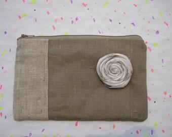 Linen Pouch 2 pockets, silk rosette,medium,pocket,natural sage,clutch everyday zipper pouch - - Sage