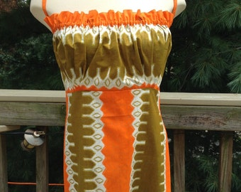 Vintage Geometric Hawaiian Print Dress Olive Orange
