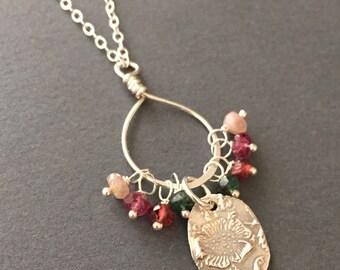 Garden of Delights, Emerald, Garnet, Pink Tourmaline, Fine Silver, Sterling Silver Necklace, erinelizabeth