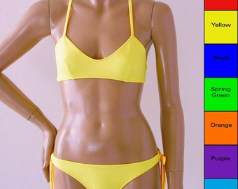 Crossback Ballet Top and Tie Bottom Bikini in Red, Yellow, Blue, Green. Orange, Purple, Turquoise