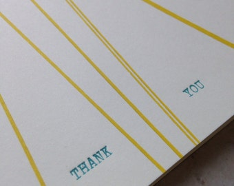 Diagonal stripe thank you letterpress card