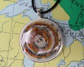 Paper Necklace, art jewelry, Map Atlas brown orange