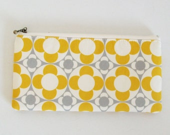 Flat zipper pouch - kaleidoscope yellow