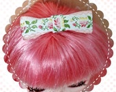 Vintage Ribbon Hair Bow for Blythe / Pink Floral