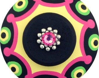 Black Yellow Pink and Lime Green Dots Swarovski Crystal Jeweled Hand Painted Wood Decorative Kides Drawer Pull Knob Cabinet Hardware