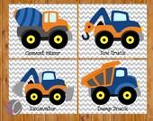 Instant Download Boys Construction Trucks Vehicles Wall Art Room Decor Trucks Orange Navy Blue Playroom 4 Printable 8x10 Digital JPGs (cs3)