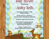 Baby Shower Forest Friends Invite Woodland Animals Fox Fawn Deer Baby Chevron Gender Neutral DIY Printable JPG 5x7 (196)