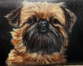 Brussels Griffon Dog Painted Women's Leather Wallet
