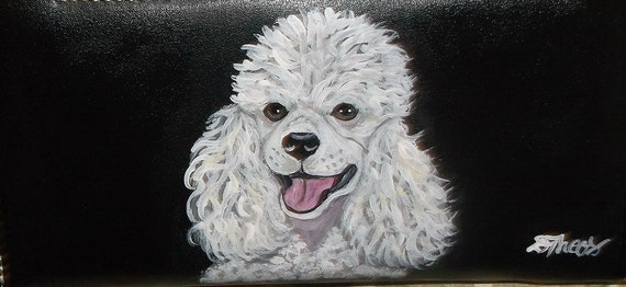 Poodle Dog Custom Painted Leather Wallet Reserved