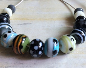Lampwork Rounds Fall Colors