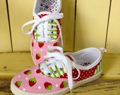 Strawberry Shortcake Themed Hand Painted Children's Sneakers Shoes