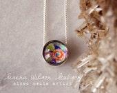 painted blossoms, floral, petite, floating pendant, necklace