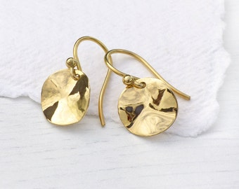 18k Gold Disc Earrings with Crinkle Effect, Eco Friendly, Handmade in the UK