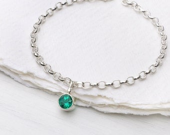 Emerald Charm Bracelet, May Birthstone, Sterling Silver, Handmade in the UK