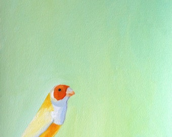 Bird on a perch print of original oil painting Lady Gouldian Finch