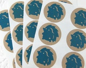 Cute Woodland Hedgehog Kraft Stickers (1.67 inch, 24 labels, 1 color)