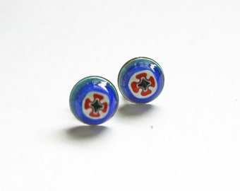Little Glass Studs / Evil Eye / Stud Earrings, Glass, Colorful, Bridesmaid, Gift, Girlfriend
