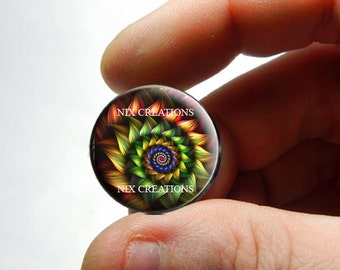 25mm 20mm 16mm 12mm 10mm or 8mm Glass Cabochon Cameo - Fractal Design 2 - for Jewelry and Pendant Making
