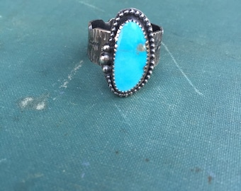 Wide Band Turquoise Ring | Stamped Band | Arrow Motif | Kingman Turquoise | Southwestern Ring | Cigar Band Ring | Cuff Ring