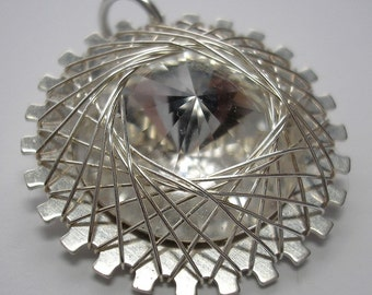 SALE - Clear Crystal Spiro Pendant - Wire Wrapped - Sterling Silver  Base