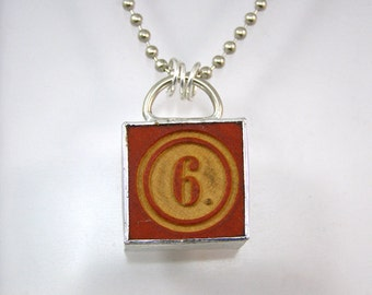Number 6 Pendant Necklace