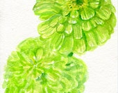 Zinnias Watercolors Paintings Original , Flower Painting, small Floral Wall Art 5 x 7, original watercolor painting of lime green zinnia