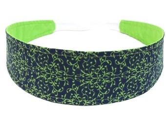Headband Reversible Fabric  -  Navy Blue & Green Floral Print  -  Seahawks Blue Green - Headbands for Women - EVELYN