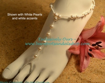 Bridal Pearl Beach Wedding Barefoot Sandals
