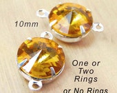 Golden Topaz, Glass Jewels, Silver Settings, No Ring Settings, One or Two Ring, 10mm Rivoli, Rhinestones, Stud Earring Jewels, One Pair